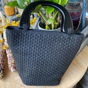 Talbots Black Woven Straw Bucket Bag